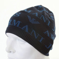 Armani Jeans navy monogram knitted skull cap beanie S6417 S1 AJM1338