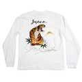 Sugar Cane White Long Sleeve TT64241 Crew Neck Slim Fitting T-Shirt with Tiger Embroidery on Back CANE2846