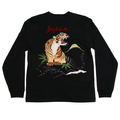 Sugar Cane Black Long Sleeve Crew Neck TT64241 Slim Fitting T-Shirt with Tiger Embroidery on Back CANE2847