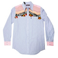 Yoropiko Blue Soft Pointed Collar Regular Fit Diamond Jaquard Mens Long Sleeve Shirt YORO0244A