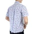 Sun Surf Mens SS34973 Blue Regular Fit Short Sleeves Printed Aloha Hula Dancer Oxford Shirt SURF3814