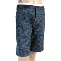 RMC Jeans Mens Blue Tsunami Waves Embroidered on Black Denim Shorts REDM4147