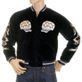 Sugar Cane Mens Fully Reversible TT11783 Black Velvet Skull Embroidered Acetate Souvenir Jacket TOYO4233