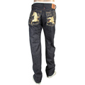 RMC Jeans Model 1001 Embroidered Gold Lucky Horse Japanese Selvedge Raw Indigo Denim Jeans for Men RMC3750
