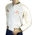 Tailor Toyo Mens TT13001 Regular Fit Fully Reversible White Souvenir jacket with Hand Embroidered American Eagle TOYOSC3709
