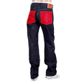 RMC Regular 1001 Classic Slim Model Japanese Selvedge Indigo Raw Denim Jeans with Red Embroidered Pockets RMC2988