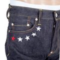 RMC Jeans 4A Mens 4A V1 Slim Indigo Raw Japanese Selvedge Denim Jeans with White 4A Embroidered Back Pockets RMC1922
