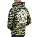 RMC Jeans Cotton RQJ14037 Green Tiger Tea Camo Hooded Sweat Jacket with Double Zip Closure REDM4418