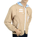 RMC Jeans RQJ14046 Mens Reversible Nylon Removable Sleeves Functional Jacket in Beige with Hood REDM4419