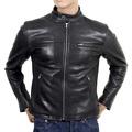 RMC Martin Ksohoh Nehru Collared Kid Leather Black Biker Jacket REDM4488