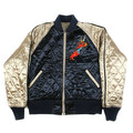 RMC  X Yoropiko Navy and Champagne Quilted Reversible Jacket with Dragon Claw and Hungry Dragon Embroidery REDM2135