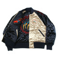 RMC X Yoropiko Champagne and Navy Blue Quilted Reversible Regular Fit Jacket with Hungry Dragon Embroidery REDM2135A