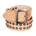 Mens Beige Leather Garrison Belt with Studs by Sugar Cane CANE5728