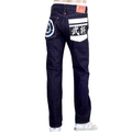 RMC White Embroidered and Painted Sengoku 1011 Model RQP14123 Raw Selvedge Slim Fit Jeans in Indigo REDM4455