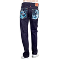 RMC Mens Dark Blue 1011 Model Slim Fit Dragon and Tsunami Wave Embroidered Raw Denim Jeans REDM4456