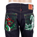 RMC Japanese Selvedge Denim 1011 Model RQP14121 Green Dragon and Tsunami Wave Embroidered Jeans REDM4457