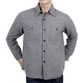 SugarCane Grey Wool Mix Quilted Regular Fit SC13177 CPO Overshirt with 2 Chest Pockets and Round Tail CANE4494