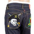 RMC Jeans Regular Fit 1001 Model Dark Indigo Raw Denim Jeans with PIRATES and Rose Embroidery REDM0398