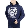 RMC Jeans Regular Fit Long Sleeve Printed Silver Logo Hoodie in Navy Blue with Kangaroo Style Pocket REDM0713