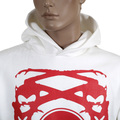 RMC Jeans Kangaroo Style Pocket Ivory Long Sleeve Hoodie with Red Logo Print REDM0714
