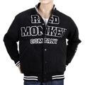 RMC Martin Ksohoh Black and White Regular Fit Vintage Varsity Baseball Jacket REDM3116