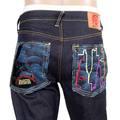 RMC Jeans Genuine Embroidered KING KONG Vintage Cut Dark Indigo Red-Green Selvedge Raw Denim Jeans REDM3253