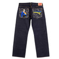 RMC Jeans SUPERMAN SUPERMC Embroidered Dark Indigo Vintage Cut Raw Selvedge Denim Jeans REDM3698