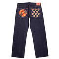 RMC Jeans DUELIST KIMONO Embroidered Dark Indigo Vintage Cut Raw Selvedge Denim Jeans REDM3701
