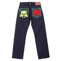 RMC Jeans Genuine Exclusive Vintage Cut Raw Selvedge Denim Jeans with Samurai Monkey Embroidery REDM6212