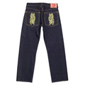 RMC Jeans Genuine Exclusive 2007 God of Golden Brother Embroidered Vintage Indigo Raw Selvedge Jeans REDM9064