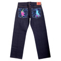 RMC Jeans Genuine Warrior Embroidered Vintage Dark Indigo Raw Selvedge Jeans REDM9068