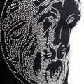 Versace Versus Short Sleeve Crew Neck Regular Fit T Shirt for Men with Silver Rhinestone Lion Head Design VERS4787