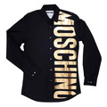 Moschino Black Cotton Long Sleeve Gold Logo Printed Shirt for Men MOSM5334
