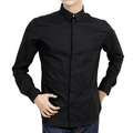 Versus Versace Stretch Slim Fit Black Cotton Shirt with Large Self Coloured Lion Head Embroidery on Back VERS6108