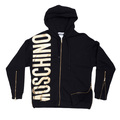 Moschino Mens  Regular Fit Black Hooded Sweatshirt with Front and Side Seam Zip MOSM4815