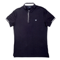 Armani Jeans Slimmer Fit Logo Embroidered Blue Polo Shirt for Men with Ribbed Collar and Sleeve Cuffs AJM6010