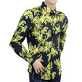 Versace Baroque Printed Cotton Black Slim Fit Shirt with Long Sleeves and Logo Embossed Buttons VERS2785