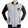 Armani Jeans Grey Slim Fit Sweat Jacket with Full Zip Front, Pleather Sleeves and Back in Darker Grey AJM5143