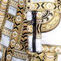 Versace Jeans Regular Fit Blouson Jacket with Long Sleeves and Duchesse Print in Gold and White VERS6172