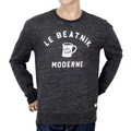 Scotch & Soda Cotton Made Anti Fit Crew Neck Marl Grey Sweatshirt for Men with Flock Print on Front SCOT5595
