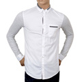 Armani Jeans Extra Slim Fit White Stretch Cotton Shirt for Men with Grey Long Sleeves AJM4673