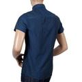 Armani Jeans Blue Woven Cotton Short Sleeve Shirt for Men with Self Coloured Mini Dot Jacquard Pattern AJM5987