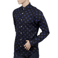 Scotch and Soda Navy Stretch 127079 Cotton Slim Fit Shirt for Men with Blue Jacquard Circles Print SCOT5591