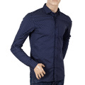 Mens Scotch and Soda Navy Stretch Cotton Classic Slim Fit Long Sleeve Jacquard Printed Circle Shirt SCOT6778