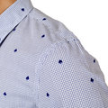 Scotch and Soda Cotton Made Blue Mini Check and Flock Spade Printed White Slim Fit Shirt for Men SCOT6780