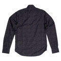 Scotch and Soda Black Slim Fit Long Sleeve Cotton Shirt for Men with Jacquard Printed Circles in White SCOT6783