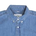 Carhartt Long Sleeved Slim Fit Stonewashed Blue Denim Civil Shirt with Soft Button Down Collar CARH6822