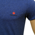 Dsquared2 Blue Short Sleeve Crew Neck Slim Fit T-Shirt with Maple Leaf Chest Logo Print DSQ27527