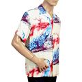 Sun Surf Mens Regular Fit Short Sleeved Pikake Symbol Of Hawaii Printed SS37793 Beige Rayon Hawaiian Shirt SURF8594