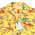 Sun Surf Rayon Made Regular Fit Short Sleeve Yellow Hawaiian Shirt with Hawaiian Hula Print and Wooden Buttons SURF8587